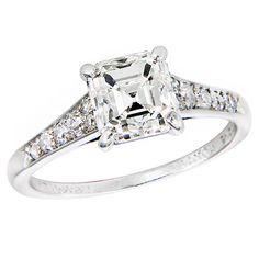 antique cartier engagement ring | CARTIER 2 Carat Asscher cut Diamond Ring at 1stdibs