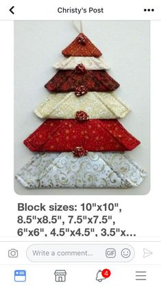 39 Super Easy, No-Sew DIY Fabric Crafts You Can Try Today – My Ideas - Diy and crafts interests Fabric Christmas Trees, Quilted Christmas Ornaments, Fabric Ornaments, Blue Christmas, Christmas Items, Handmade Christmas, Christmas Patchwork, Christmas Blocks, Christmas Placemats
