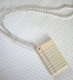 Line Page Ceramic Necklace. $16.00, via Etsy.