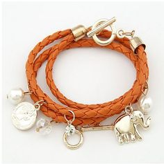 Elegant Elephant & Charms With Color Rope Bracelet