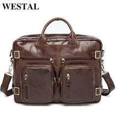 86.40$  Buy now - WESTAL Genuine Leather Men Bag Men's Briefcases 14inch Leather Laptop Bag business Male men travel Tote crossbody Bags 341  #magazineonlinewebsite
