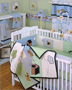 Puppy Room  $198.00  Unisex Nursery Decor  Four piece bedding set includes quilt, bumper, sheet, and dust ruffle  Charming puppy applique  All prints are 100% cotton  JPMA certified