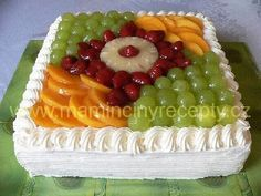 Fresh Fruit Cake, Fruit Tart, Fruit Cake Design, Bithday Cake, Asian Cake, Square Cakes, Bakery Design, Bakery Cakes, Easy Cake Recipes