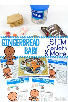 Gingerbread Baby Activities for the book Gingerbread Baby by Jan Brett.  Lessons include Stem: Make a Gingerbread House, 2 math centers, 2 literacy centers, 4 printable worksheets for math and ELA, plus a directed drawing.  This unit also includes activities for 3 other books.  Perfect and fun for your kids in December!