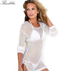 Womens Sexy Mesh Hollow Crochet Long Sleeve Swimwear Bikini Cover Up Beach Dress Black White Beige Women Tops Beach Cover Ups