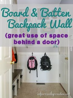 Board and Batten mudroom backpack wall