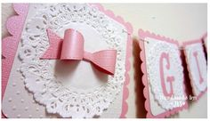 Girl, Pink banner, shabby chic, Bow, Ribbon banner - Personalized or Customize it!