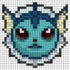 Vaporeon Head Perler Bead Pattern | Bead Sprites | Characters Fuse Bead Patterns
