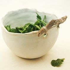 Ceramic Serving Bowl with Twig Handle. Could try this with grape vine