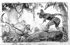 Originally Peter Pan was going to be part of the Tinkerbell story but was left out. Animation Storyboard, Storyboard Artist, Disney Kunst, Disney Art, Disney Magic, Peter Pan, Tinkerbell Characters, Thumbnail Sketches, Disney Fairies
