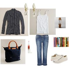 spring, fall, black and white striped cardigan, white tank, jeans, black bag, white converse tennis shoes
