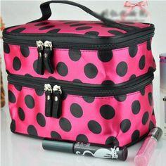 Lady Double Cosmetic Bag Retro Dot Beauty Case Makeup Bag Set Kit Toiletry Bag