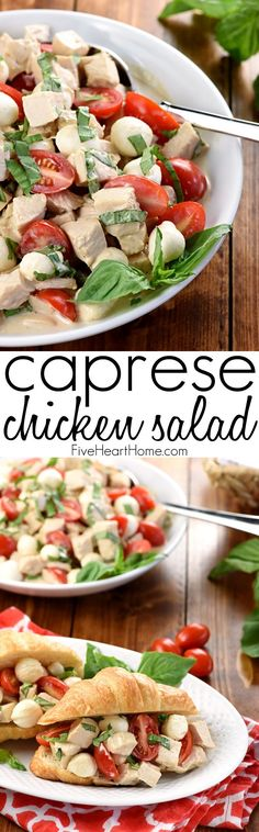 Caprese Chicken Salad ~ combines two summertime favorites, featuring juicy tomatoes, creamy mozzarella, and fresh basil tossed with diced chicken in a homemade, Greek yogurt-based balsamic dressing!
