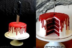 DIY Bloody Cake Recipe and Tutorial from Say It with Cake.Make a red velvet cake, frost it and pour red ganache (red chocoate melts, heavy cream etc…) over the top.For more Halloween food like the spiderweb cake, bloody bandaids, or the Brie Coffin Cheese Cemetery go here.