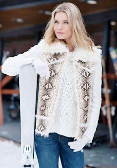 Faux Sherpa-Lined Python Vest - Donna Salyers' Fabulous Furs #fauxfur #FabulousFurs #DonnaSalyers #crueltyfree #fallfashion #winterfashion #ifakeit #fakefur #furcoat #furvest #faux #white #donnaspicks #snakeskin #animalprint #winter2016