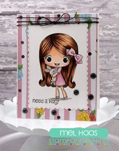Check out DT Mel's super sweet card using Melanie - Need a Hug?  #stampanniething #rubberstamps #copics #copicmarkers #cardmaking #chibistamps
