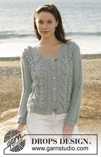 """DROPS 101-7 - DROPS cardigan with bobbles and lace pattern knitted in """"Silke-Alpaca"""". Size S - XXL - Free pattern by DROPS Design"""