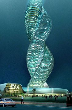 Cobra tower,Intertwined Infosys Building in Kuwait