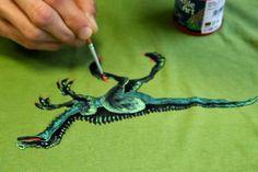 Dinosaur painting on fabric. Farby Textile Art Nerchau