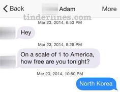 Excellent reply.   42 Of The Best, Worst, And Weirdest Messages Ever Sent On Tinder