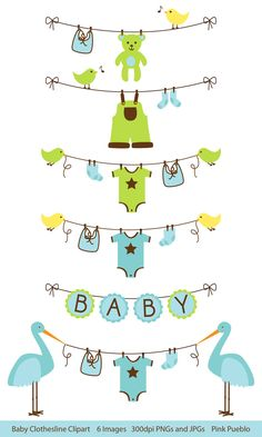 Baby Clip Art Clipart, Baby Bunting Clip Art Clipart, Clothesline Laundry Line Baby Shower Clip Art - Commercial Use Clipart Baby, Art Clipart, Baby Shawer, Baby Love, Baby Clip Art, Baby Bunting, Baby Scrapbook, Digital Stamps, Baby Cards