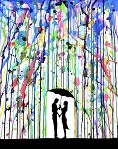 Cette oeuvre représente un couple qui se tienne la main sous un par à pluie. C'est la main gauche de la femme tien le pare à pluie puis c'est la main droite de l'homme qui tien le par à pluie. Les deux personnages, le par à pluie et le sols sont tousses de couleurs noir. Par contre, la pluie qui tombe est plins de couleurs comme bleu, vert, rose, rouge,et mauve. Cette peinture me fait sentir calme et joyeuse.