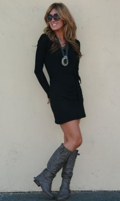 have this dress and boots in black :)