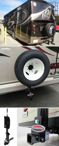 This sturdy Roadmaster spare tire carrier allows you to carry a spare tire for your RV or motor home while retaining use of your hitch for mounting accessories or flat towing. Rv Storage, Storage Ideas, Motorhome Living, Van Dwelling, Rv Mods, Camping Accessories, Camping Equipment, Family Camping, Campsite
