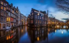 Download wallpapers Amsterdam, evening, city lights, canals, Netherlands, old city, houses in the water