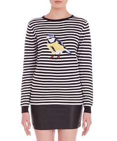 Another great find on #zulily! Off-White & Black Stripe Songbird Sweater #zulilyfinds