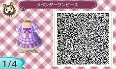 ACNL QR CODE-Purple Gingham Dress