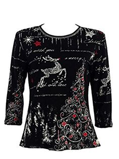 398f313f0f Elegant Christmas Sweaters for Women - Adorable reindeer and Christmas tree rhinestone  shirt can be worn