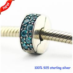 Fits Pandora Bracelets 2016 Summer Teal Shinning Elegance Clips Silver Beads 100% 925 Sterling Silver Charms DIY Jewelry 09C011F #Affiliate