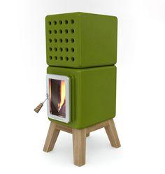 modern wood stove - SO sweet ! by Adriano Design Into The Woods, Wood Burning Logs, Wood Pellet Stoves, Freestanding Fireplace, Wood Pellets, La Pile, Log Burner, California Homes, Innovation Design