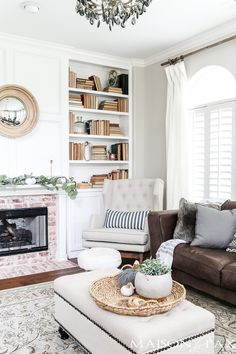 gorgeous white and gray living room with fall decor #falldecor