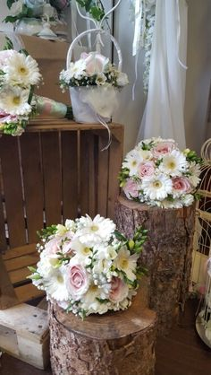 pink roses, freesia, gerbera and gypsophila bridal bouquets