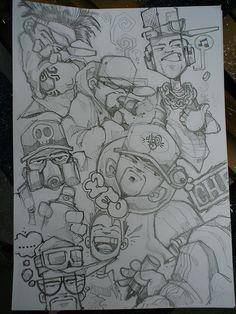 Graffiti Doodles, Graffiti Cartoons, Graffiti Characters, Graffiti Drawing, Graffiti Alphabet, Graffiti Lettering, Doodle Art Drawing, Cool Art Drawings, Art Drawings Sketches