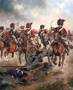 """4th Hussars Regiment of french Army charging at Tarragona during the Peninsular…"