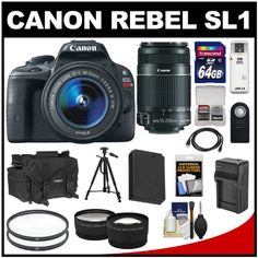 Digital Cameras - Pin it :-) Follow us, CLICK IMAGE TWICE for Pricing and Info . SEE A LARGER SELECTION of digital cameras at http://azgiftideas.com/product-category/digital-cameras/  - gift ideas   - Canon EOS Rebel SL1 Digital SLR Camera & EF-S 18-55mm IS STM Lens with EF-S 55-250mm IS II Zoom Lens + 64GB Card + Battery + Case + Tele/Wid...