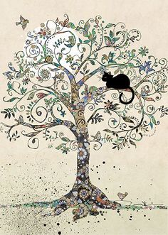 Cat in a Tree - Bug Art greeting card