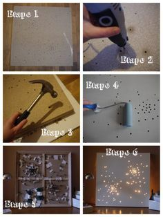 Light canva   tableau lumineux DIY.  Would be awesome to do with your favorite constellation in it.