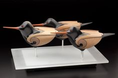 wood Art NEW__Black Oystercatchers by Rex Homan, Māori artist (KRX111102)