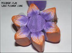 Lava Volcano flower polymer clay cane