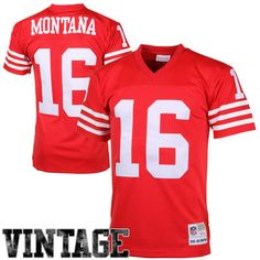 83e099c9b Mens San Francisco 49ers Joe Montana Mitchell   Ness Scarlet Retired Player  Vintage Replica Jersey