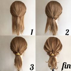 24 Wonderful And Easy Ponytail Hairstyles Tutorials - Bafbouf Ponytail Hairstyles Tutorial, Weave Hairstyles, Pretty Hairstyles, Messy Ponytail Tutorial, Weave Ponytail, Hair Ponytail, Hairstyles Videos, Medium Hair Styles, Curly Hair Styles