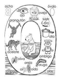"""O"" coloring page Name Activities, Spanish Activities, Kindergarten Activities, Preschool Spanish, Elementary Spanish, Spanish Lesson Plans, Spanish Lessons, Spanish Teacher, Spanish Classroom"