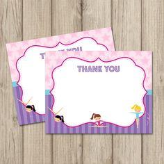 GYMNASTICS Birthday Party THANK YOU cards by kimberlyjdesign
