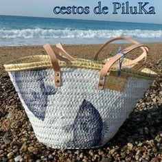 Cestos de playa personalizados piluka . Capazo pez