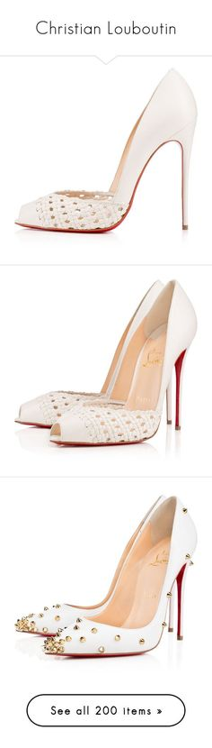 """Christian Louboutin"" by alejaborrayo ❤ liked on Polyvore featuring shoes, louboutin, christian louboutin, pumps, heels, stiletto pumps, white leather pumps, high heel stilettos, high heel pumps and white shoes"