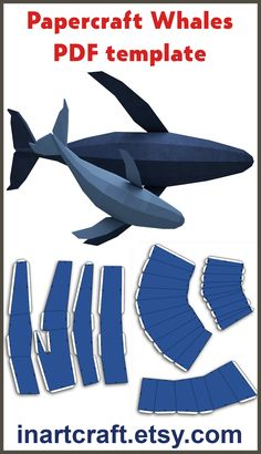 PDF Papercraft Whales PDF Papercraft Whales Papercraft whales template, PDF paper craft kit, origami pepakura, DIY low poly paper model Akash Haque - Cartoon Videos Kids For 2019 Low Poly, Big Whale, Cocktail Videos, Wale, Moda Emo, Aesthetic Videos, Paper Models, Craft Kits, Digital Pattern